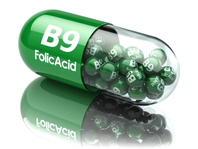 Pills with B9 folic acid element