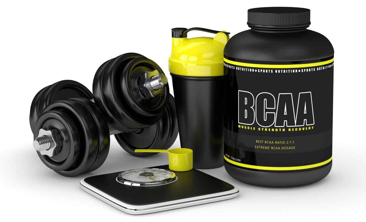 BCAA powder With Dumbbells, Scale and Shaker