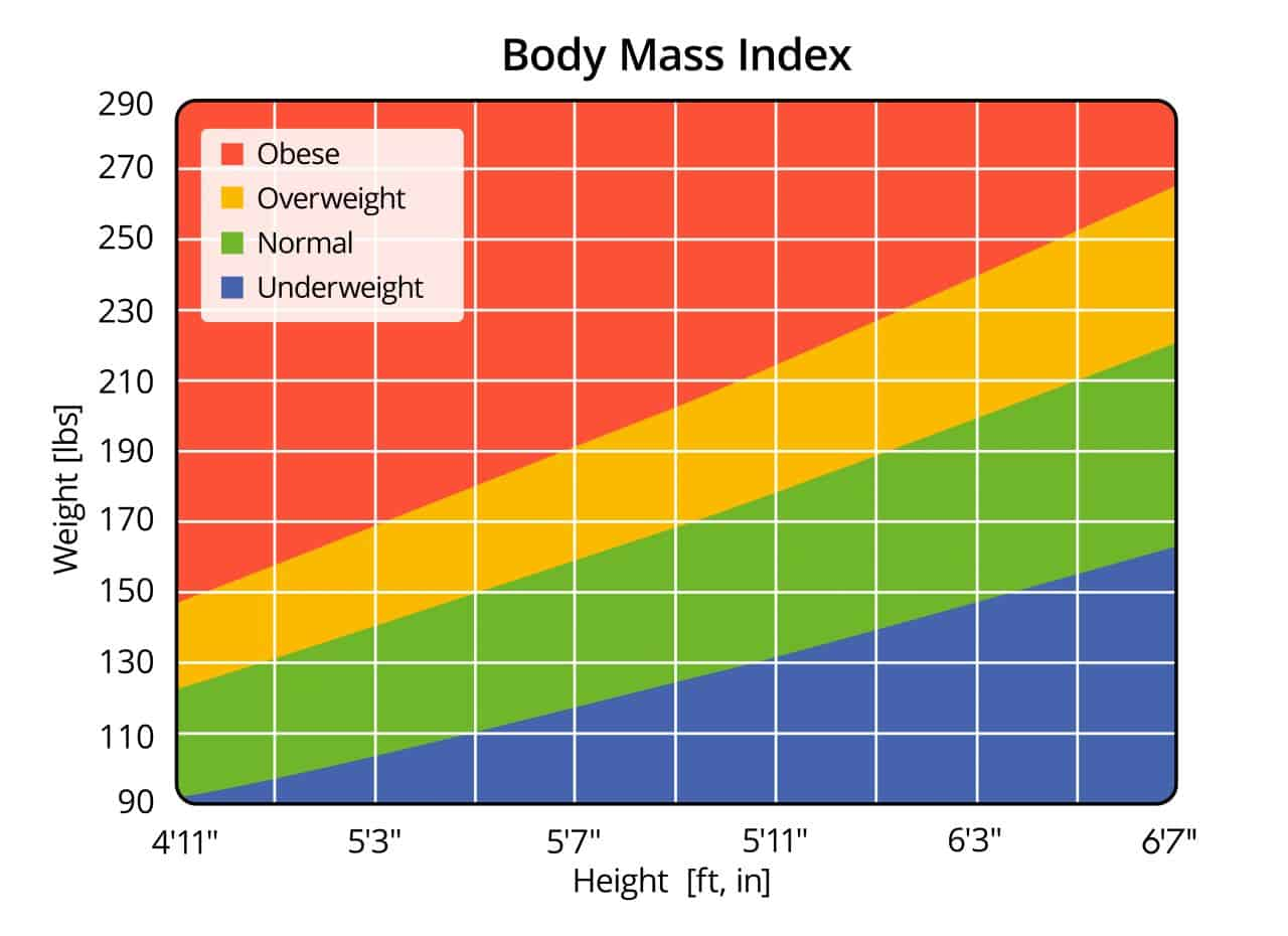 Body Mass Index Chart in Lbs and Ft, In