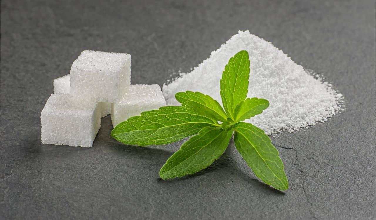 Stevia Leaves with Stevia Powder and Sugar