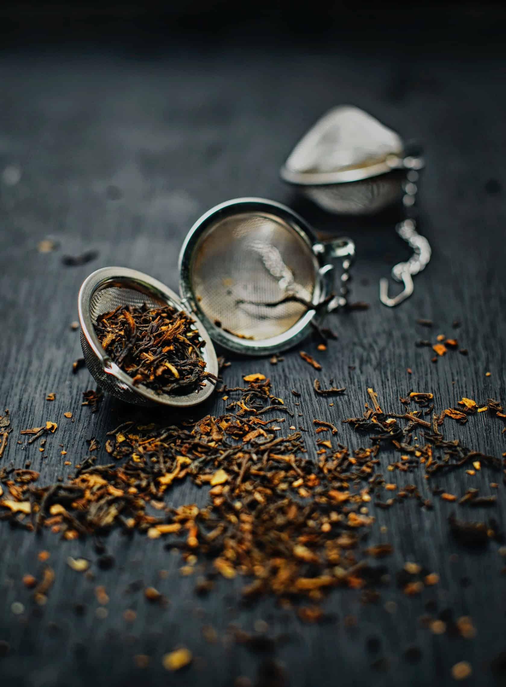spilled tea on surface